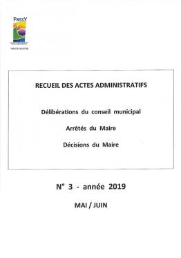Recueil Délibérations Arrêtés Décisions Mai-Juin 2019